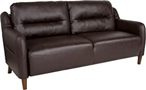 Flash Furniture Newton Hill Upholstered Bustle Back Sofa in Brown LeatherSoft