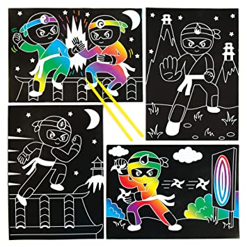 Baker Ross- Dibujos de Ninjas para rascar (Pack de 6) Que ...