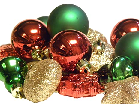 holiday time miniature christmas tree shatterproof ornaments red green gold 20 count - Red Green And Gold Christmas Tree Decorations