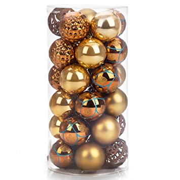 "iPEGTOP Shatterproof Christmas Ball Ornaments - 30ct 60mm/2.4"" Gold  Shiny Matte Glitter and - Amazon.com: IPEGTOP Shatterproof Christmas Ball Ornaments - 30ct"