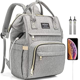 Backpack Diaper Bag For Women, Waterproof Large Capacity Organizer Portable For Newborn Girl Boy Girls Boys Kids Shower Gift With Stroller Strap Phone Usb Port And Insulated Pocket Bottle Changing Pad