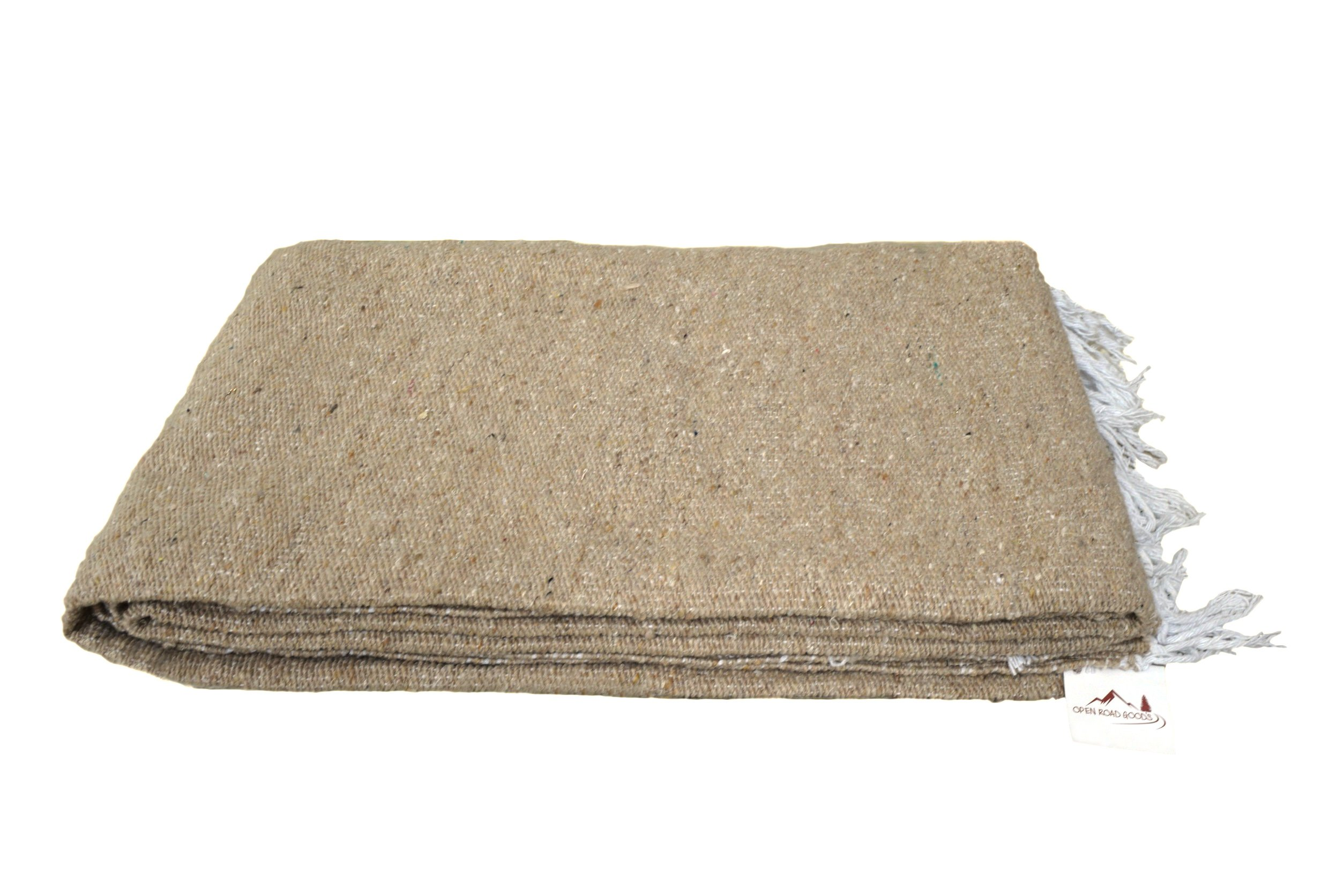 Open Road Goods Handmade Tan/Khaki Yoga Blanket - Thick Mexican Blanket or Throw - Made for Yoga!