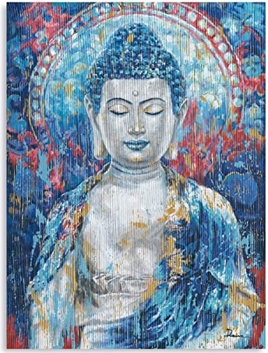 Vintage Buddhism Gautam Buddha Statue Zen Wall Art Painting Teal Blue Buddha Head Prints on Canvas Colorful Abstract Wall Decor