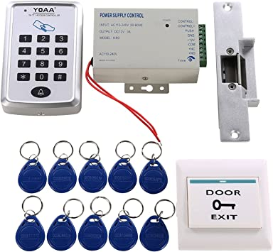 HWMATE RFID Door Access Control System Kit with Electric Magnetic Lock Access Control Power Supply Push Button Entry Keypad 10pcs Fob