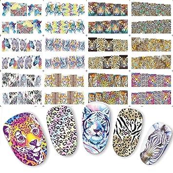 1 Pcs Leopard Lion Animal Nail Art Stickers     - Amazon com