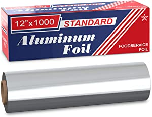 """Ox Plastics Standard Premium Aluminum Foil   12""""x1000 Feet Long   Industrial Size and Strength   Commercial Grade & Length Foil Wrap for Food Service Industry and Home Use  Strong Silver Foil (1 Pack)"""