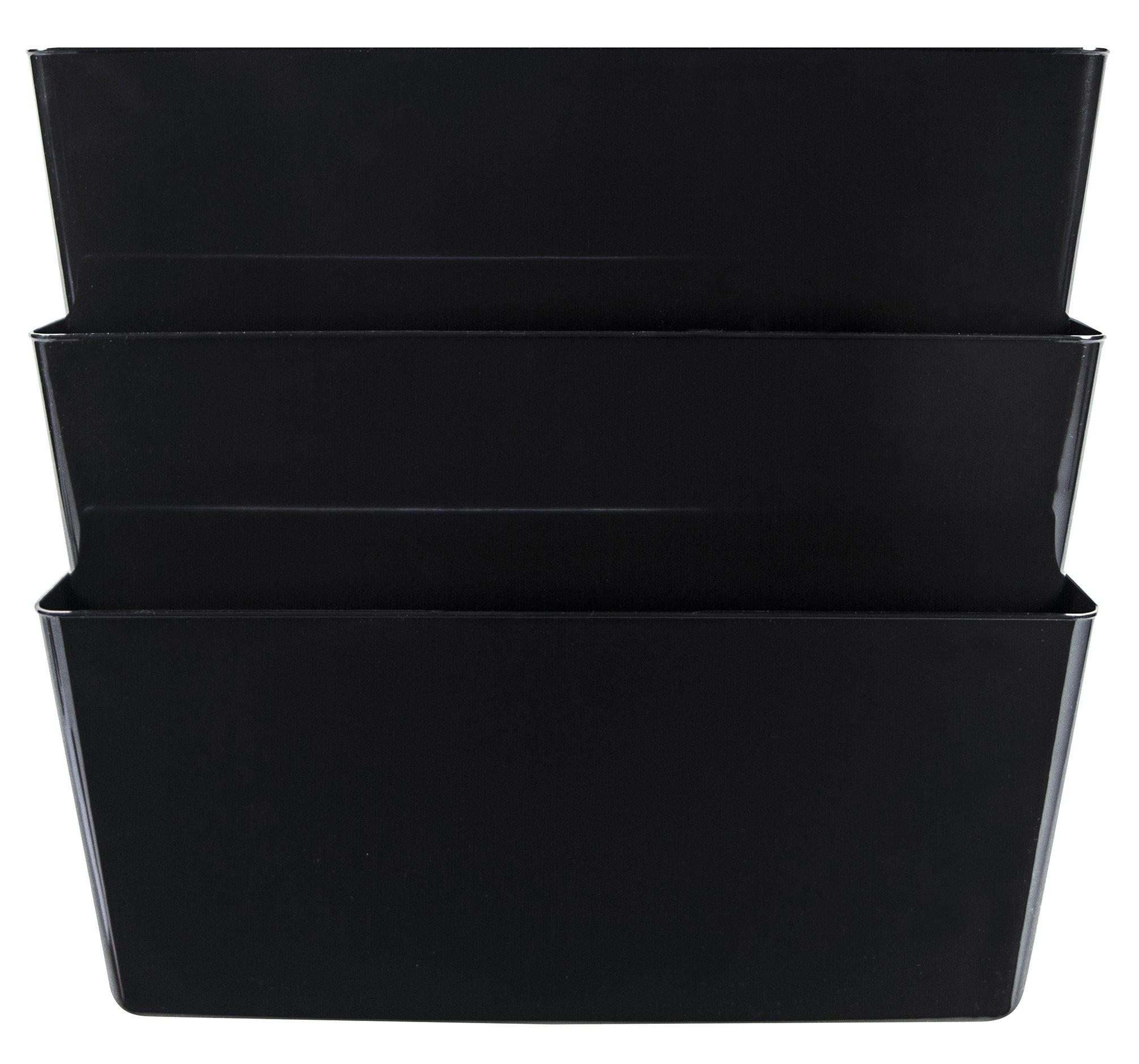 Storex Unbreakable Letter Sized Wall Files, 3-Pack, Black, Case of 6 (STX70353U06C)