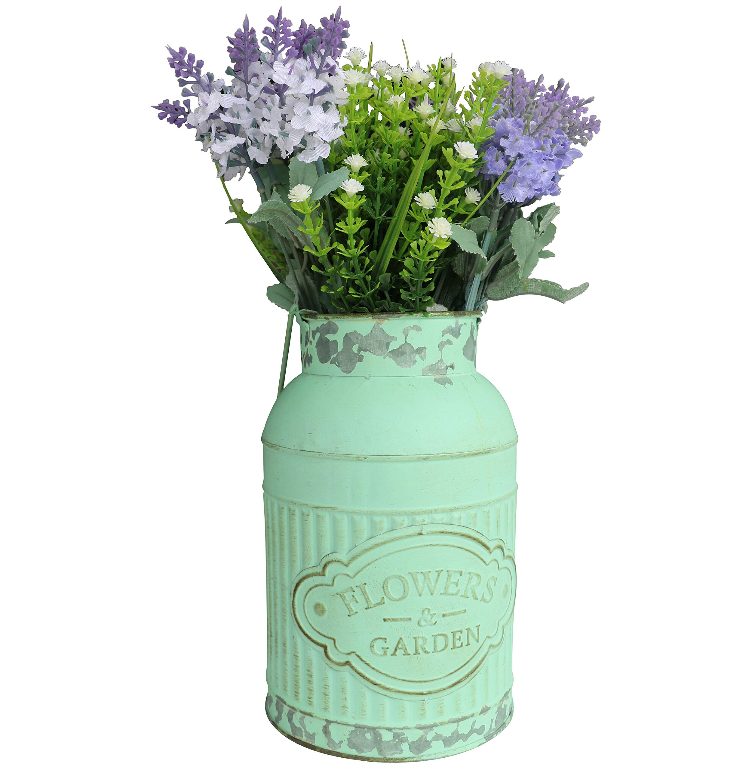 HyFanStr Shabby Chic Green Painted Milk Can Style Metal Vase Flower Pitcher Jug Pot by HyFanStr (Image #7)