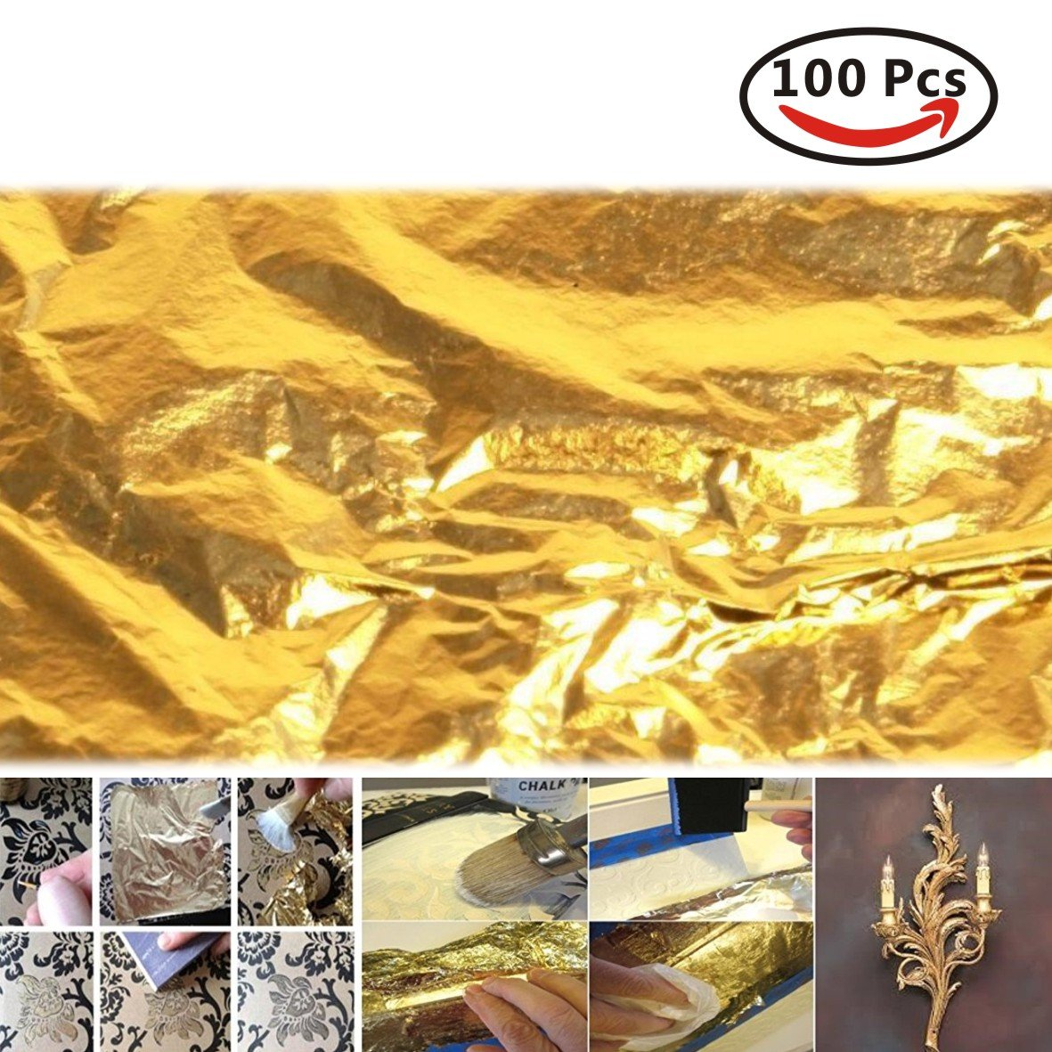 100pc 14x14cm 24k Gold Leaf Sheets/Leaves Gilding Nail Art Craft Supplies Mooin Joinin