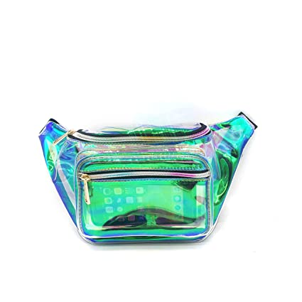 65cfc26a352 Dolores Holographic Iridescent Fanny Pack for Women and Men Fashion Casual  Waist Bag Bum Bag for