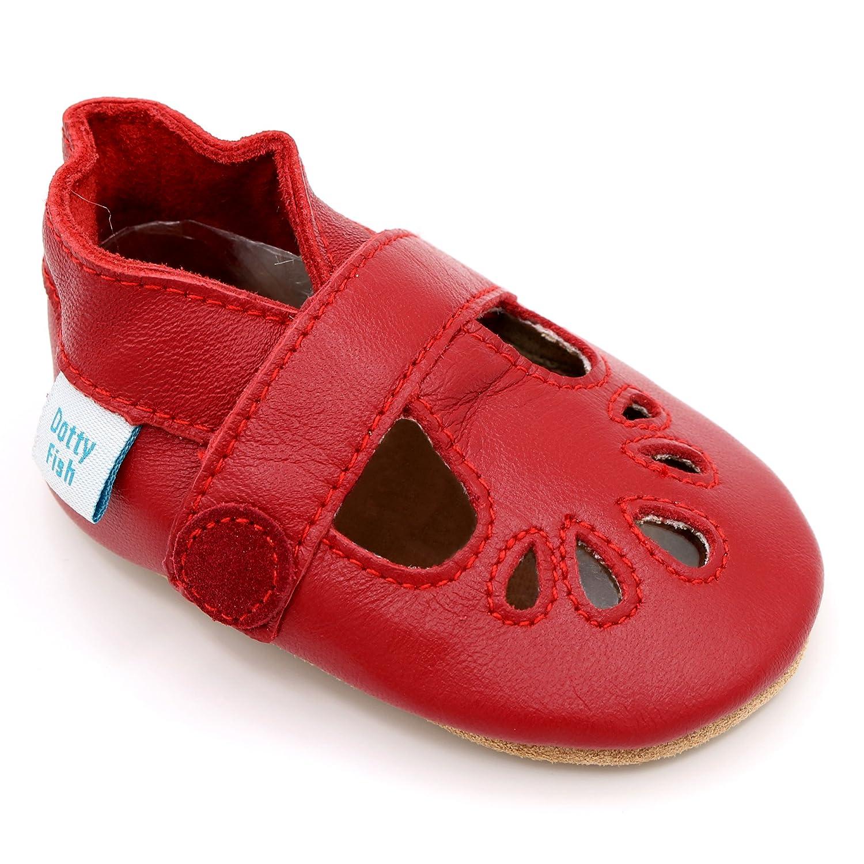 Dotty Fish - Zapatos de Cuero Suave para bebés - Niñas Marina, Rojo y Plata T-Bar - Tamaños 0-6 Meses, 6-12 Meses, 12-18 Meses, 18-24 Meses