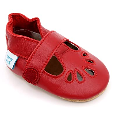 1da76e4726733 Dotty Fish Soft Leather Baby Shoes. Classic Silver, Red, Navy, Blue & Gold  T-Bar Sandals for Girls & Boys. Non Slip Suede Sole. Toddler Shoes.