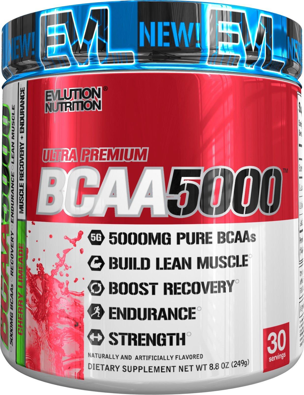 Evlution Nutrition BCAA5000 Powder 5 Grams of Premium BCAAs (Cherry Limeade, 30 servings)
