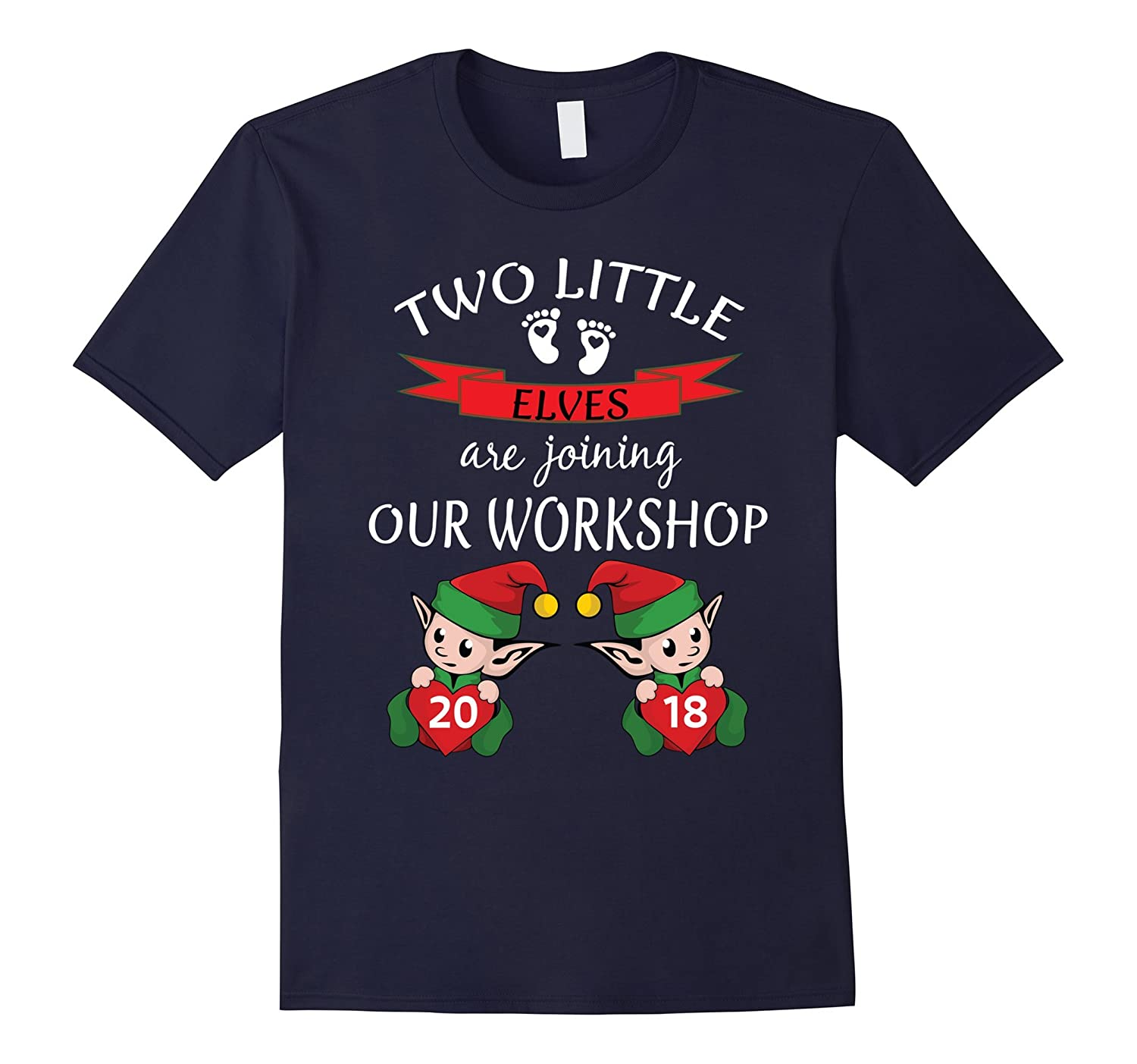2018 Cute Twins Christmas Pregnancy Announcement Shirt Baby-ANZ