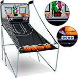 Fitnessclub Indoor Dual Shot Arcade Basketball Game -Home Double Electronic Hoops Shot for 2 Players - W/4 Basketballs & LED Scoreboard
