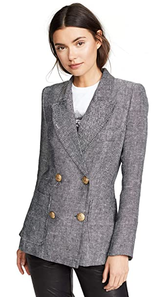 abc62db6312b SMYTHE Women's Unstructured Db Blazer, Black/White Herringbone, Size Small:  Amazon.ca: Clothing & Accessories