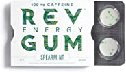 Rev Gum Caffeine Energy Gum | 100mg of Caffeine per Gem | Spearmint Sugar Free Caffeinated Mint Chewing Gum - Low Calorie Ch