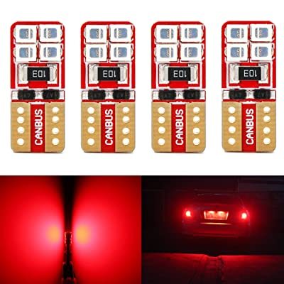 Phinlion Super Bright 2835 8-SMD LED Bulbs for Car Interior Dome Map Door Courtesy License Plate Lights Wedge T10 168 194 2825 Red (Pack of 4): Automotive