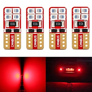 Phinlion Super Bright 2835 8-SMD LED Bulbs for Car Interior Dome Map Door Courtesy License Plate Lights Wedge T10 168 194 2825 Red (Pack of 4)