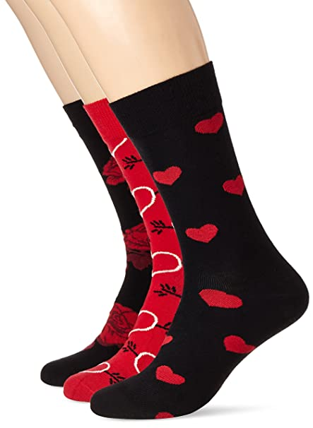 Happy Socks Valetines Gift Box, Calcetines para Hombre, Rojo (Rot 4000),