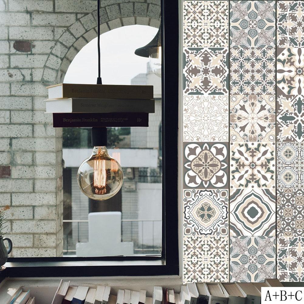 20 cm Style 1 UEB Carrelage Adh/ésif Autocollant Sticker Carreau Salle de Bains et Cuisine Mosa/ïque Mural Design Classique en PVC R/étro Fleur Motif Stickers de Fond Art 100