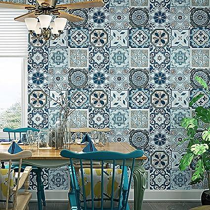 Amazon.com: Blooming Vintage azulejos de mosaico papel ...