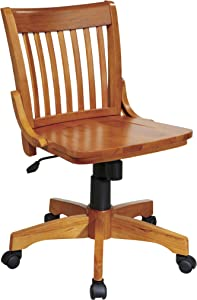 Office Star Deluxe Armless Wood Bankers Desk Chair with Wood Seat, Fruit Wood