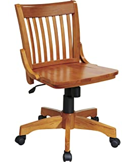 Bon Office Star Deluxe Armless Wood Bankers Desk Chair With Wood Seat, Fruit  Wood