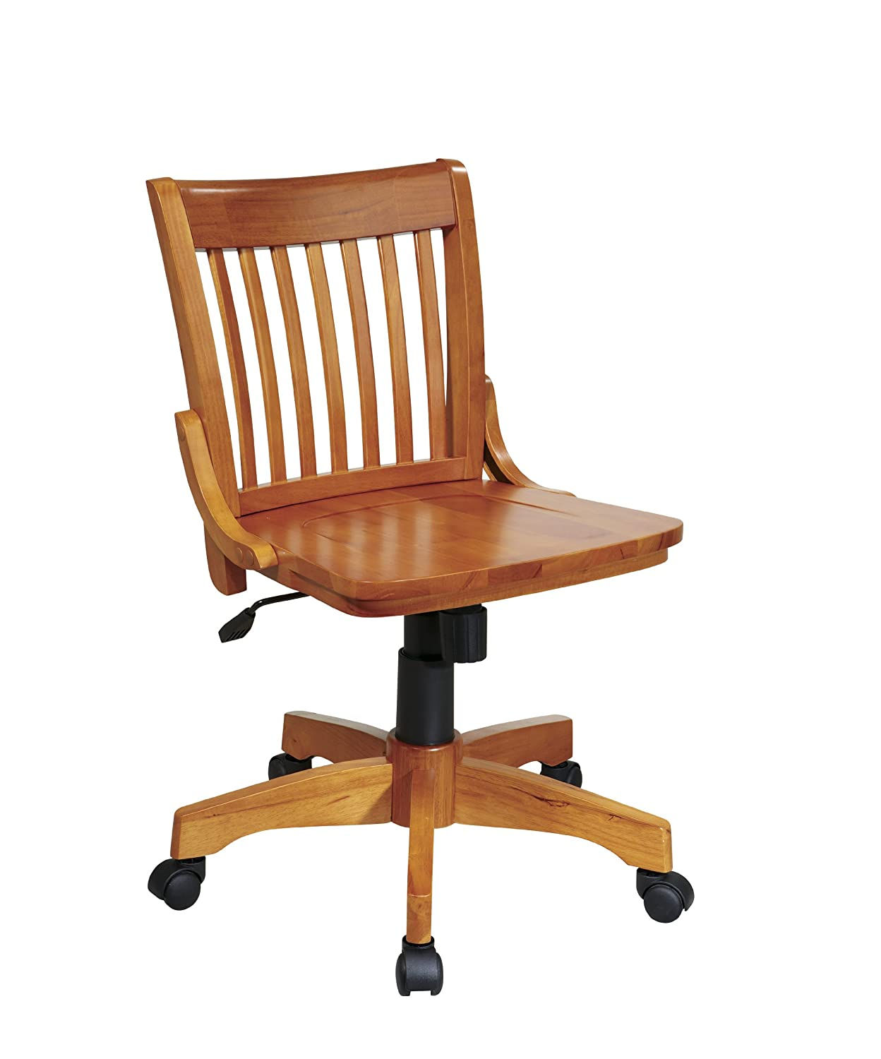 Amazon.com: Office Star Deluxe Armless Wood Bankers Desk Chair With Wood  Seat, Fruit Wood: Kitchen U0026 Dining