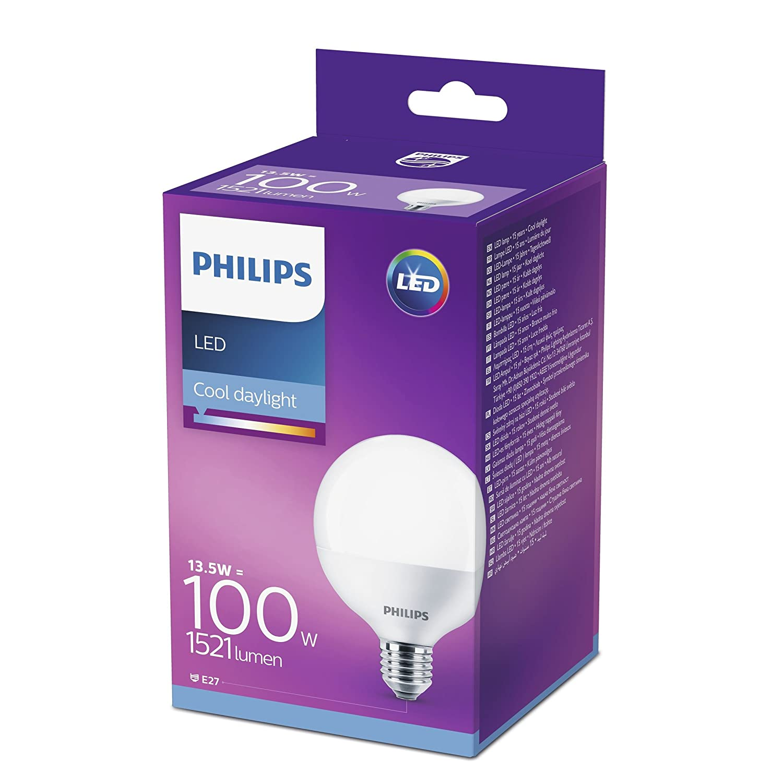 Philips 8718696743010 Bombilla LED Globo, luz Blanca fría E27, 13.5 W: Amazon.es: Iluminación