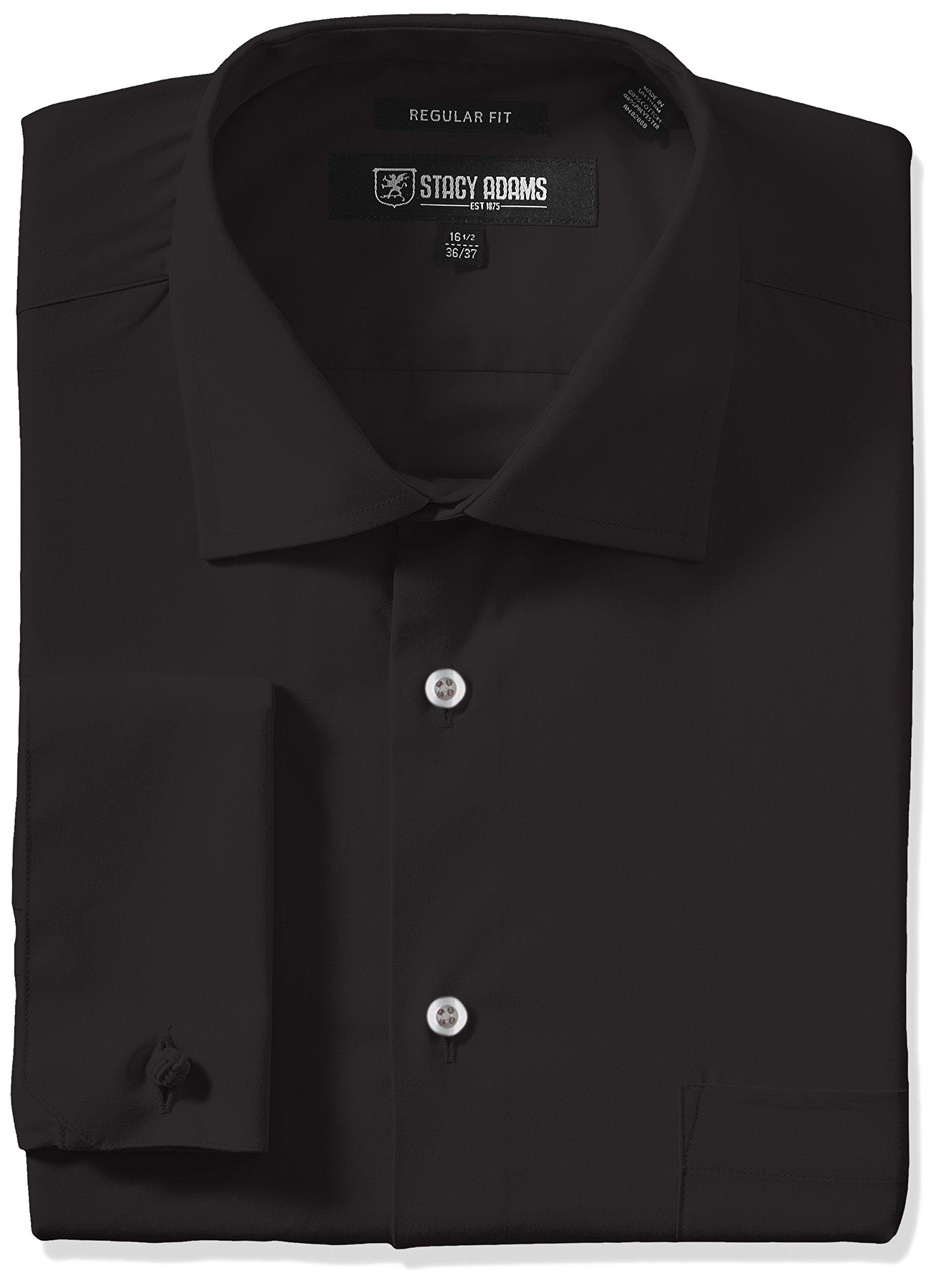 Stacy Adams Men's Big and Tall Adjustable Collar Dress Shirt, Black, 20'' Neck 34''-35'' Sleeve