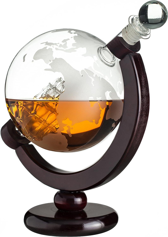 Eravino mundo globo decantador para Scotch, Bourbon, Ron, licor, y vino con barra de barco de cristal envejecido y embudo – (850ml – de carpintero)