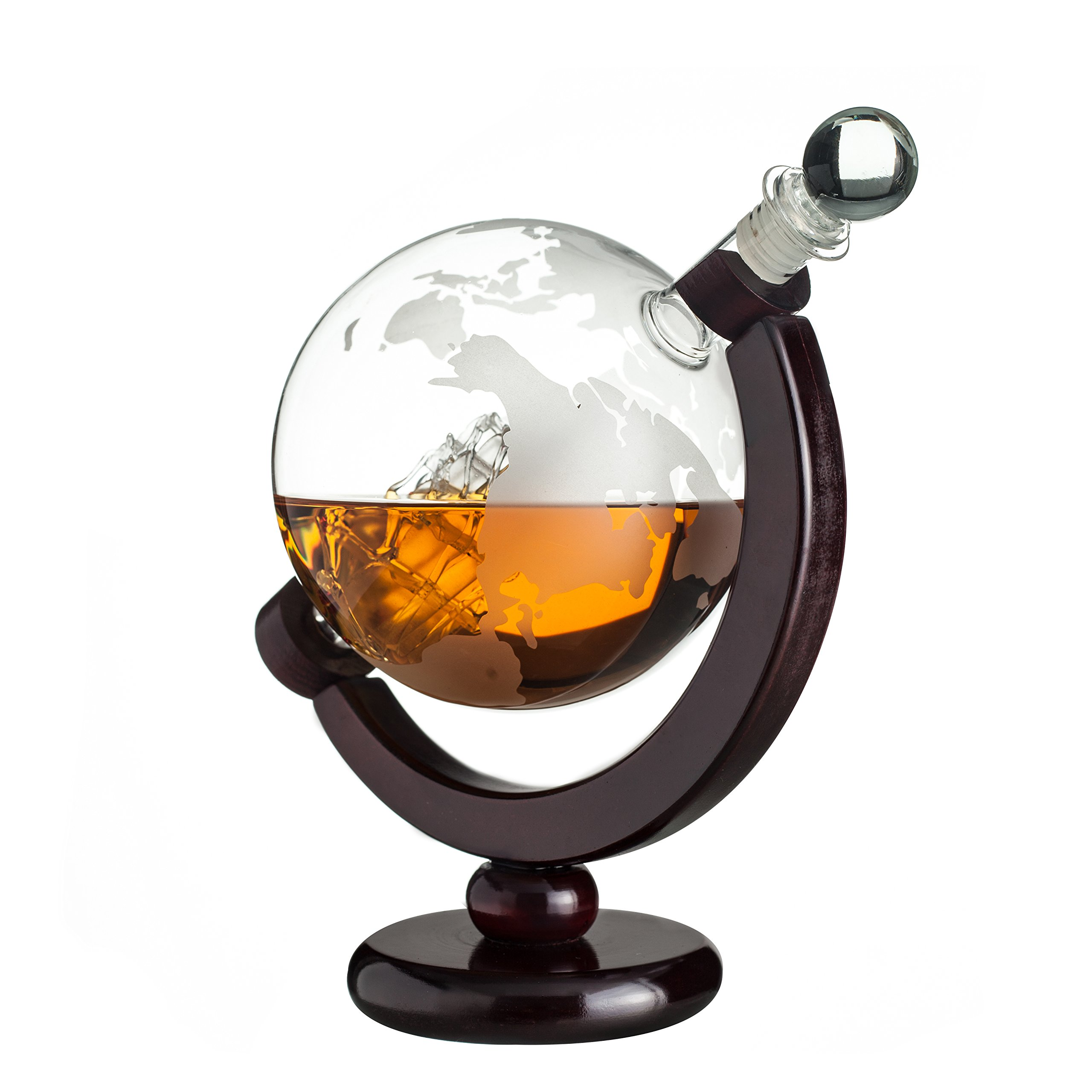 Whiskey Globe Decanter with Antique Dark Finished Wood Stand Bar Funnel 850ml Perfect Gift Set Scotch Liquor Bourbon Wine Vodka by ERAVINO (Image #3)