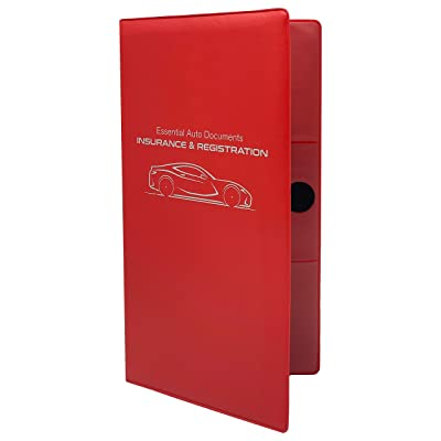Deluxe Car Insurance and Registration Card Holder - Premium Quality Automobile Essential Documents Wallet, Red: Automotive