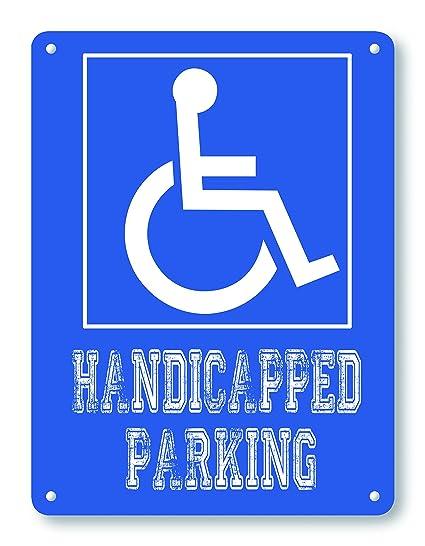 Amazoncom Wendana Blue Handicapped Parking Metal Signs Vintage