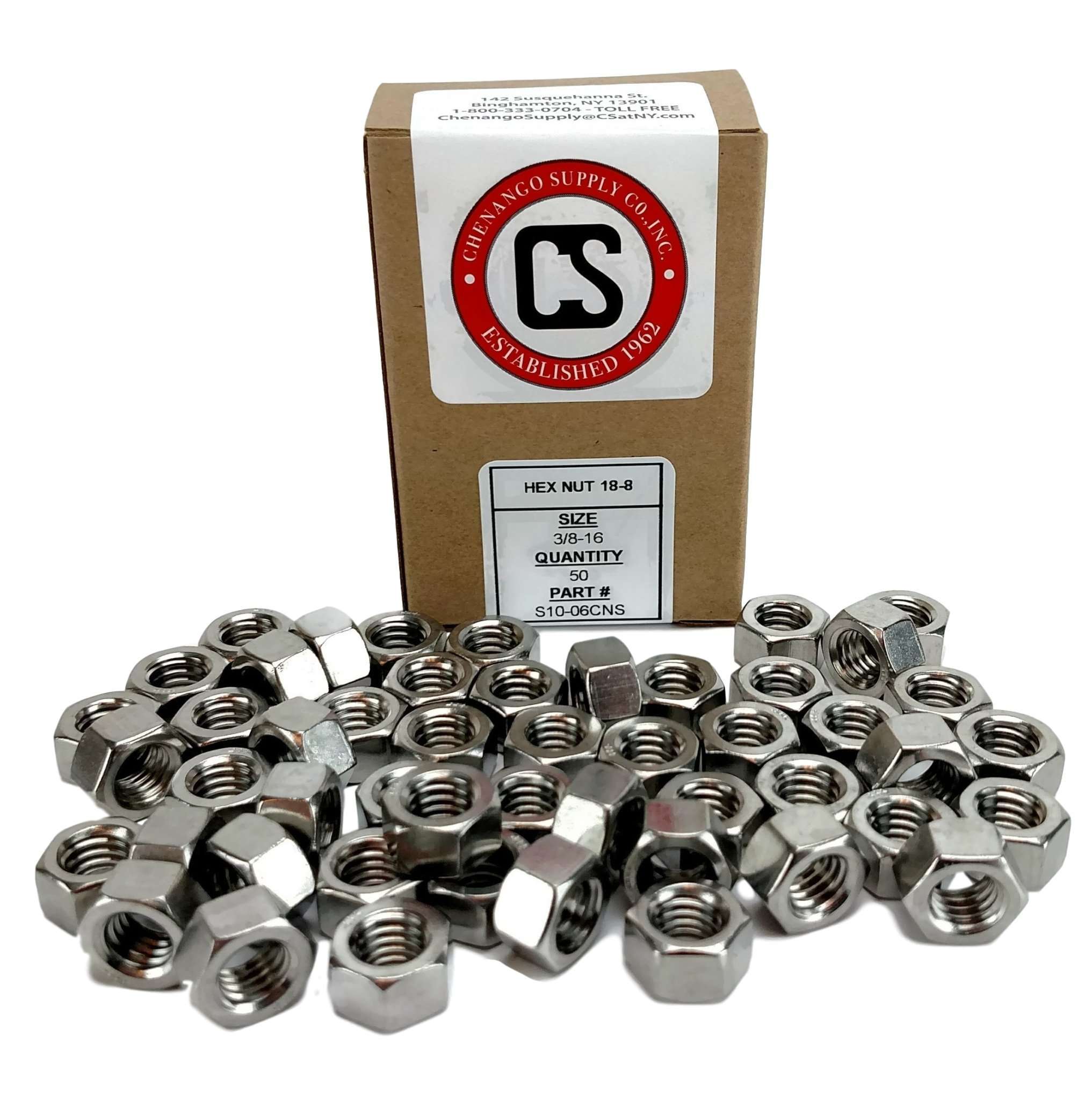 Stainless 3/8-16 USS Hex Nut,(More selections in Listing!) 304 Stainless Steel (3/8-16 HEX NUTS (50 PCS)) by Chenango Supply (Image #1)