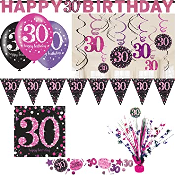 Playflip 30 Geburtstag Party Set Deko Pink Schwarz Frau Zahl