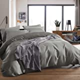 3-piece Luxury 100% Egyptian Cotton Duvet Cover Set,Smooth & Ultra Soft (King, Silver Gray)