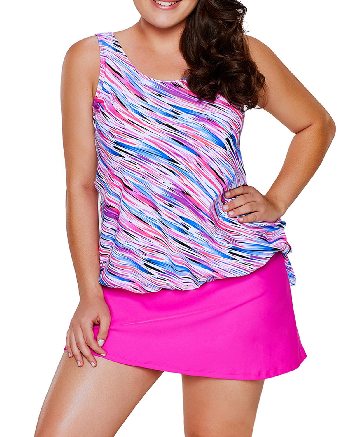 2c22b22d2f EVALESS Women s Plus Size Swimsuits Shoulder Strappy Tankini with Skirted  Swimsuit XXX-Large Pink