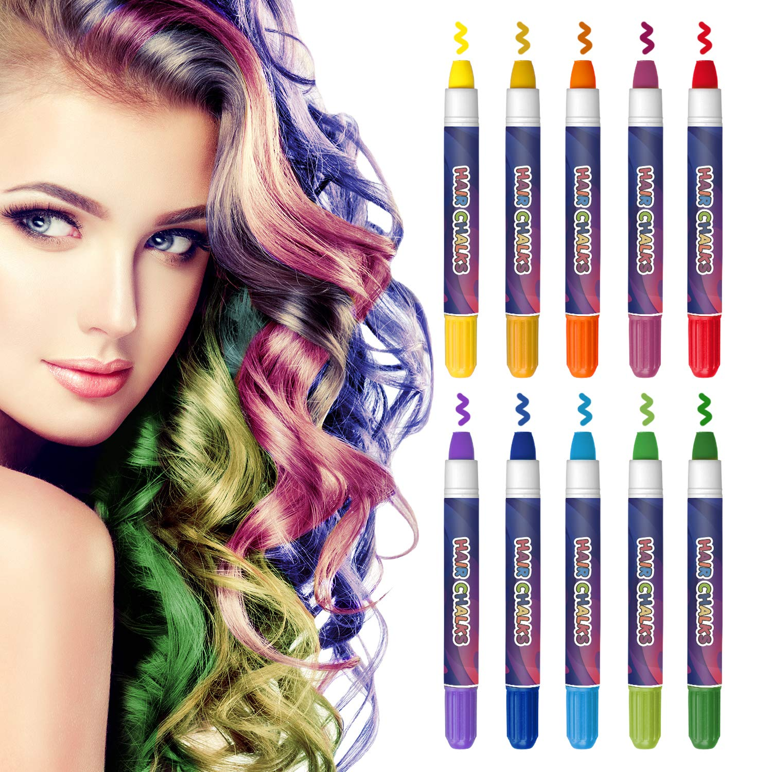 Amazon Com Coolkesi Hair Chalk For Girls Gifts 10 Bright Colors Temporary Hair Chalk Pens Washable Hair Color Chalk Set Safe For Kids Teen Popular Chalks On Birthday Cosplay Christmas Party Makeup Beauty