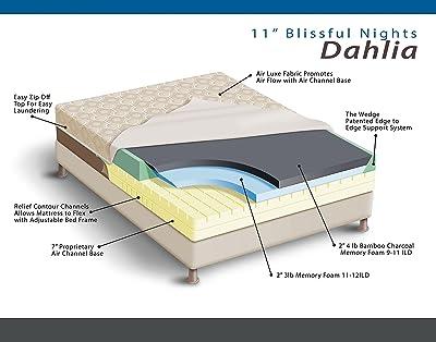 "Blissful Nights Dahlia 11"" Bamboo Charcoal Memory Foam Mattress"