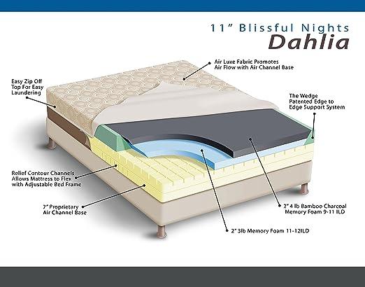 Dahlia 11 inch Bamboo Charcoal Memory Foam Mattress