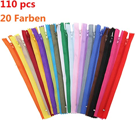 100Pcs 20 Colors 9Inch Nylon Coil Zippers Tailor Tools Craft Sewing Nylon Zipper