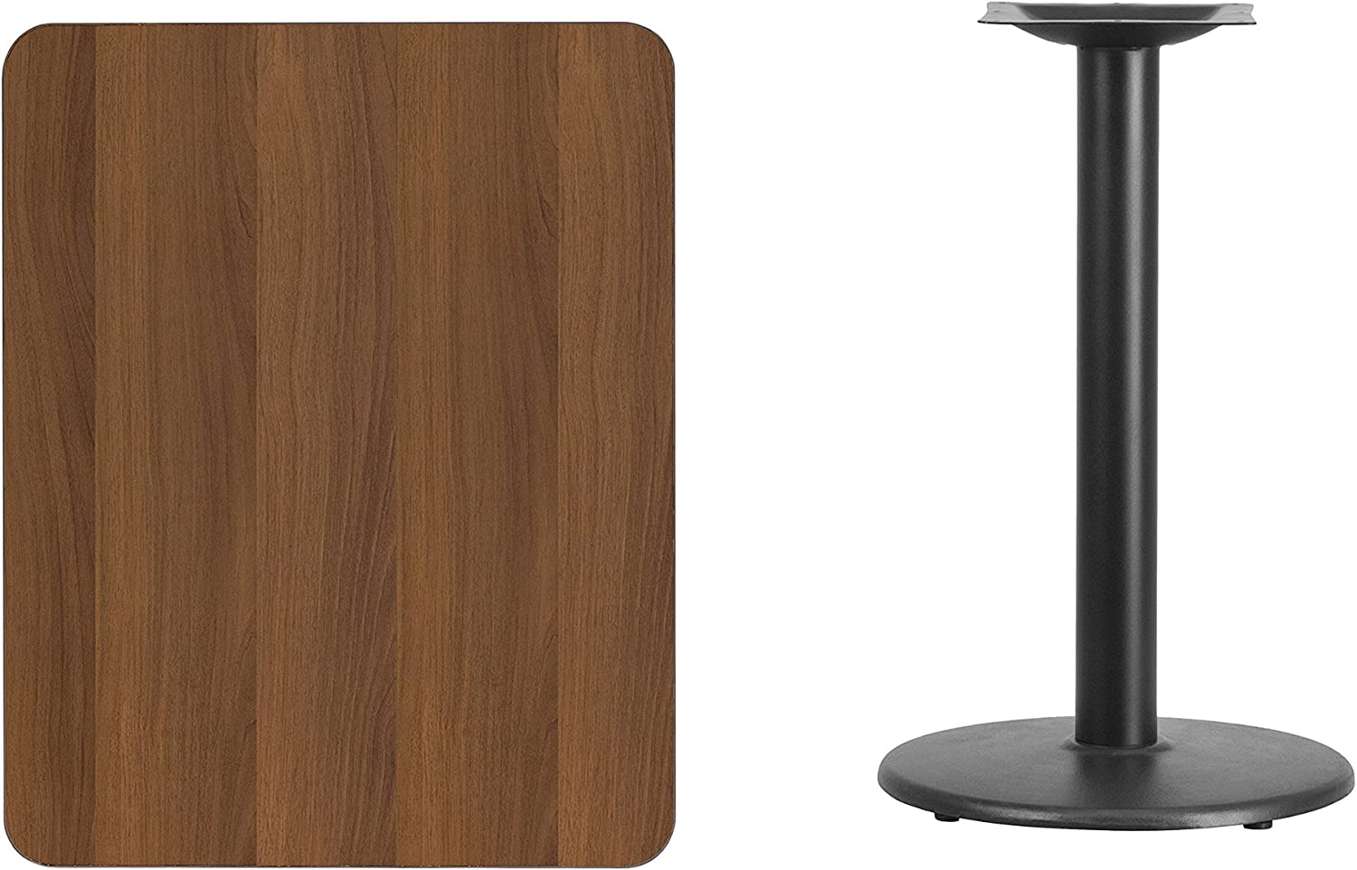 Flash Furniture 24 x 30 Rectangular Walnut Laminate Table Top with 18 Round Table Height Base