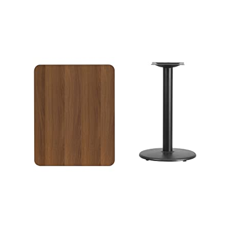 24 x 30 Rectangular Walnut Laminate Table Top with 18 Round Table Height Base