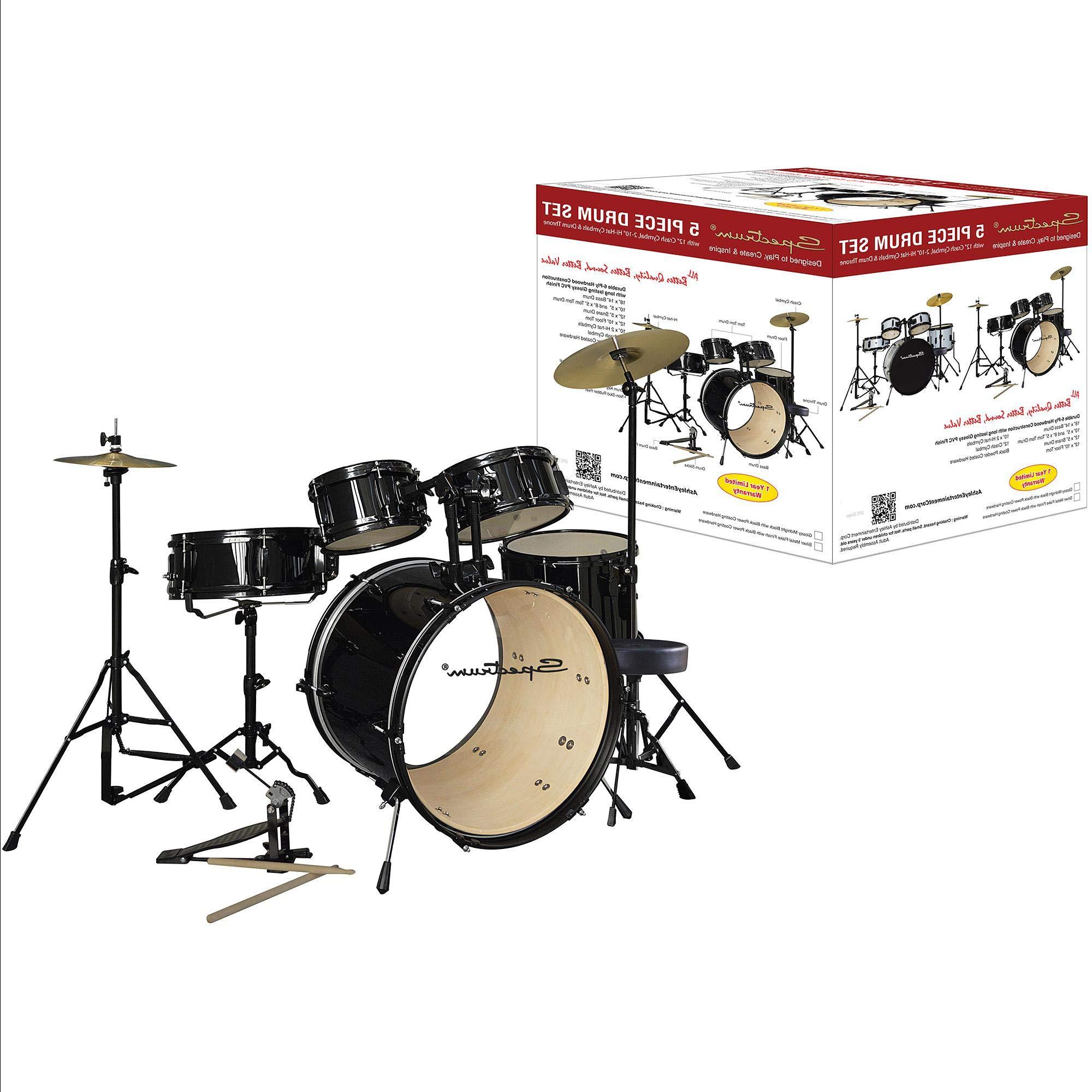 AIL 5-Piece Complete Drum Set with Bonus ound Capacity Drum Stool, Black