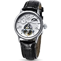 Time100 Mens Mechanical Watches Automatic Black Leather Strap Self-Winding Skeleton Black Leather Sun Phase Zone GMT Dual Time Watch W60011M