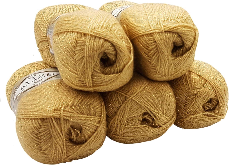 Fabriqué en FRANCE 10 pelotes  de laine  et lurex couleur soleil