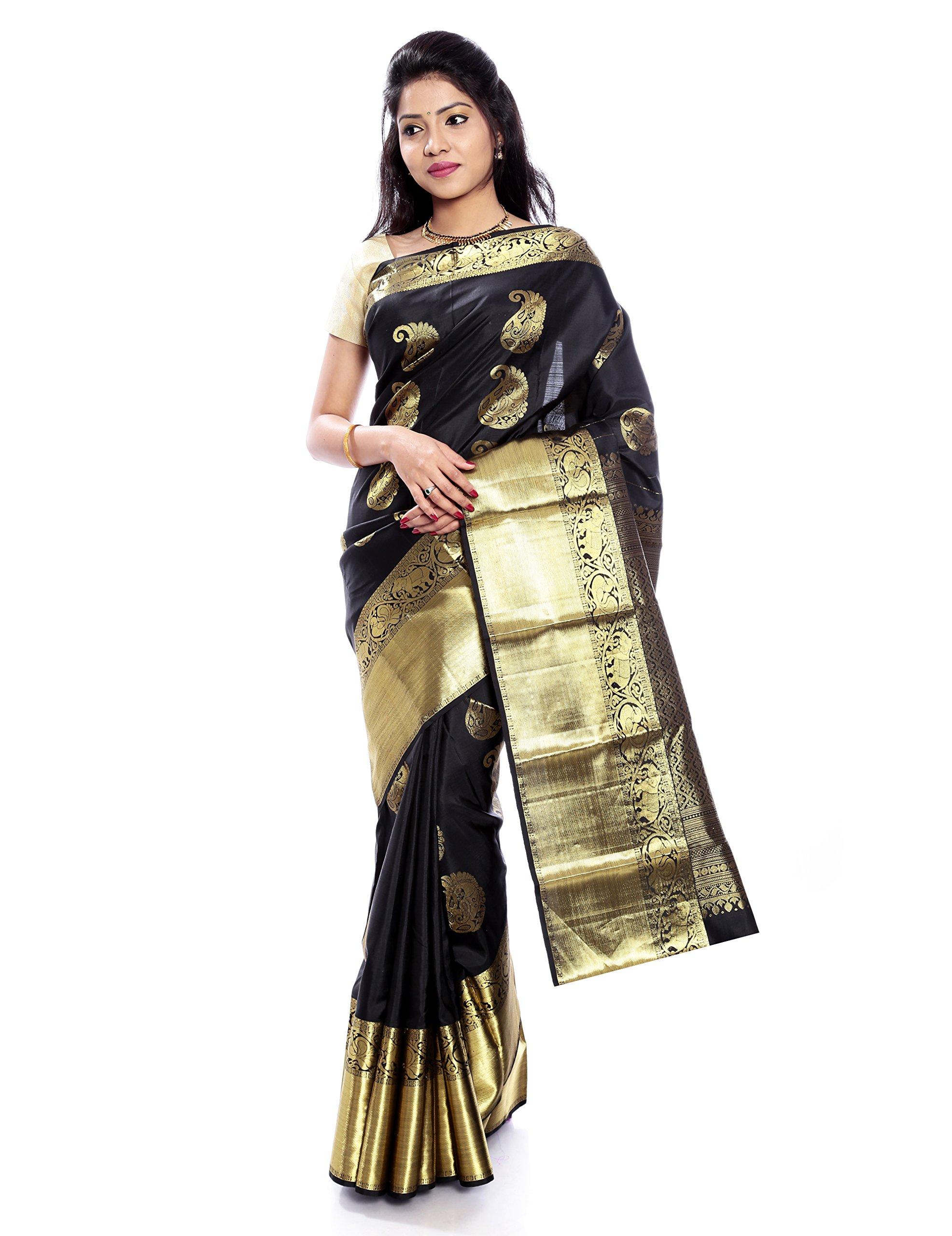 Mandakini — Indian Women's Kanchipuram - Handloom - Pure Silk Saree (Black ) (MK244)