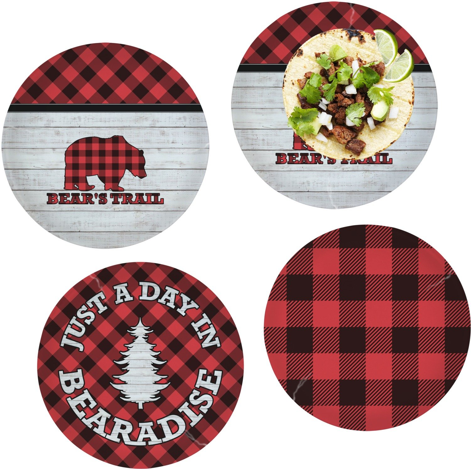 Lumberjack Plaid Set of 4 Lunch / Dinner Plates (Glass) (Personalized)